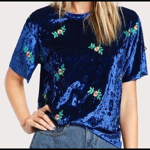Tops - Embroidered Velvet Shirt